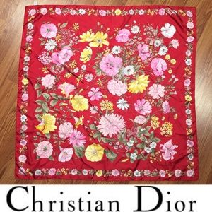 Christian Dior • Vintage Silk Floral Print Scarf